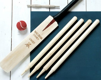 Personalised Cricket Set Size 3 - Family Garden Game - Cricket Bat - Cricket Set - Beach Game - Family Cricket - New Home Gift - Family Gift