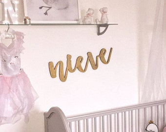 Childrens Nursery Decoration - Nursery Wallart - Nursery Decor - Christening Gift - New Baby Gift - Gold Lasercut Name - Large Wall Name