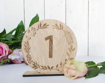 Wedding Table Numbers - Rustic Wedding - Table Decorations - Wedding - Wreath - Autumnal Wedding - Winter Wedding Wooden Wedding - Bride