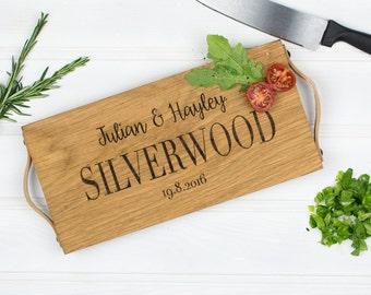 Personalised Chopping Board   Oak Chopping Board   Oak and Leather Chopping Board   Wedding Gift   5 Year Anniversary