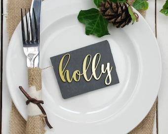 Gold Metallic Wedding Place Settings - Wedding Name Tags - Wedding Table Decor - Wedding Place Cards - Wedding Favours - Gold Wedding Decor
