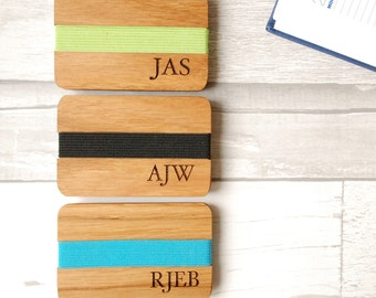 Monogrammed Card Holder -Fathers Day Gift - Best Man Gift - Boyfriend Gift - Wooden Wallet - Gift for Him - Dads Gift - Card Wallet