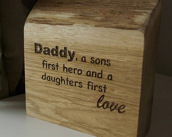 Dads Solid Oak Quote Plaque