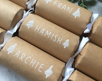 Personalised Handlettered Christmas Crackers - Christmas Crackers - Name Place Settings - Christmas Dinner Table - Table Decorations - Xmas