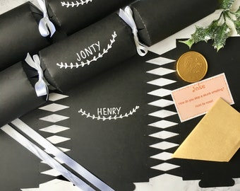 Personalised Christmas Crackers - Fill Your Own Cracker Kit - Hand Lettered - Wedding Favours - Wedding Decorations - Name Place Setting