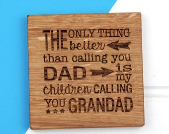 Parent Grandparent Coaster - Father's Day - Sentimental - Personalised Grandparent Gift - Dad Gift - Wooden Coaster - Coaster for Dad