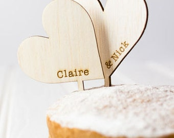 Wooden Heart Wedding Cake Toppers - Rustic Wedding Cake - Wedding Cake Decoration - Toppers - Vintage Wedding - Rustic Wedding - Hearts