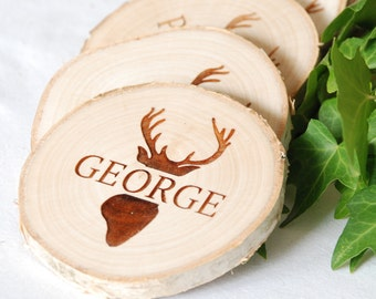 Personalised Stags Head Name Place Settings - Rustic Wedding - Place Cards - Rustic Table Decorations - Personalised Wooden Wedding Decor