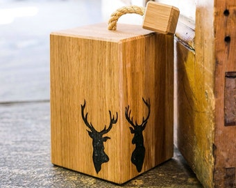 Stags Head Oak Doorstop - Gift For Dad - Gift For Him - Door Stop - Door Stopper - Country Home Decor - Country Decor - New Home Gift - Home
