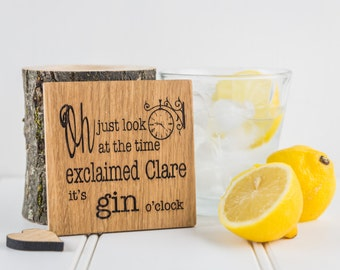 Wine, Gin Or Pimm's O'clock Coaster - Gift For Her - Gin Gifts - Wooden Coasters - Drink Coasters - Wine Gifts - Personalised Gifts - Drink