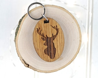 Stags Head Keyring - Animal Lover Gift - Birthday Gift For Him - Personalised Keyring - Wooden Keyring - Hotel Keyring - Garage Key