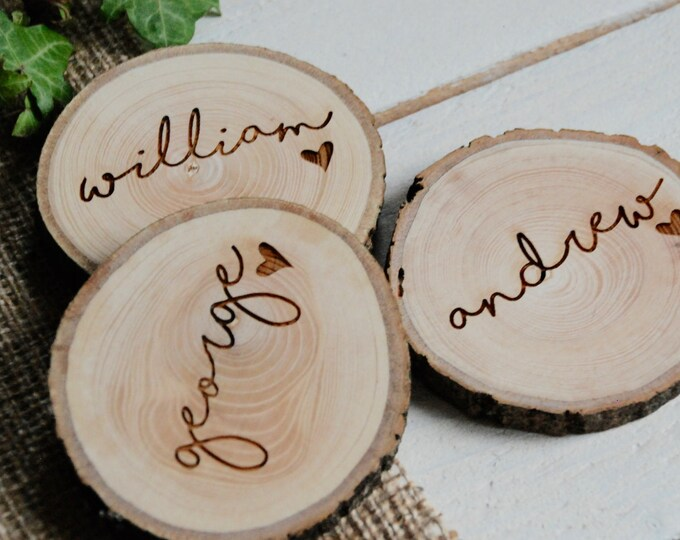 Featured listing image: Rustic Wedding Name Place Settings, Wedding Name Place Settings, Woodland Wedding, Rustic Wedding, Wedding Favour, Wedding Table Decoration,