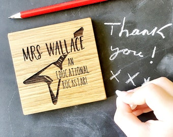 Teacher Gift - End of Term - Teaching Assistant - Thank you Gift - Best Teacher - New School - Leaving School - Personalised Coaster - Oak