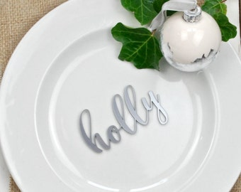 Silver Wedding Name Place Setting - Silver Wedding Decor - Wedding - Table Decor - Wedding Place Cards - Silver Wedding Anniversary - Favour