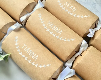 Personalised Hand lettered Christmas Crackers -Fill Your Own Cracker Kit  - Wedding Favours - Favors - Table Decoration - Name Place Setting