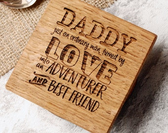 Gift For Dad - First Father's Day - Personalised Wooden Coaster - Father's Day Gift - Grandad Gift - New Grandparent Gift - Grandparent Gift