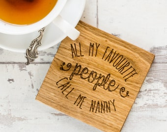 Favourite People Coaster - Gift from Grandkids -Mum Gift - Personalised Grandparent Gift - Gift For Grandma - Coaster For Mum - Wood Coaster