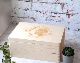 Travel Memory Box - Travel gift - Wooden Box - Keepsake Box - Wedding Gift - Honeymoon - Memory Box - Keepsake Box - Couples - Mr & Mrs