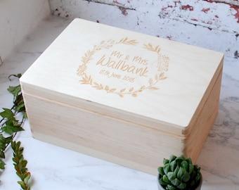Memory Box - Wooden Box - Wedding Gift - Newlyweds - Box With Lid - Keepsake Box - Gift for a Couple - Wedding Anniversary - Personalised