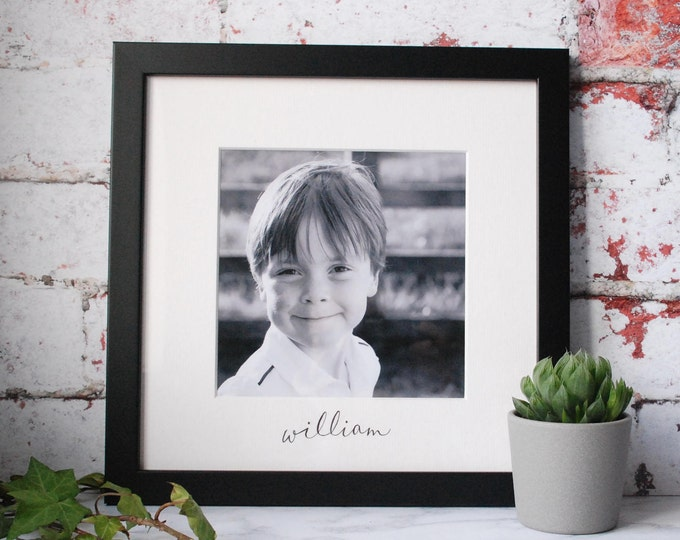 Featured listing image: Black and White Picture Frame - New Baby Gift - Personalised Family Frame - Christening Gift - Valentines Gift - Wedding Gift - Handwritten