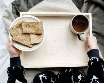 Breakfast Tray - Father's Day - Gift for Him - Gift for Dad - Personalised - Breakfast In Bed - First Father's Day -Gift From Young Children