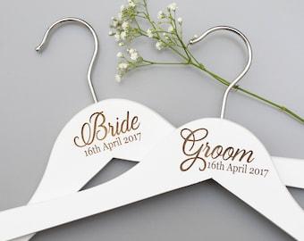 Wedding Day Hangers - Bridal Hangers - Bridesmaid Gift - Personalised Hanger - Bridal Party Gift - Wedding Dress Hanger