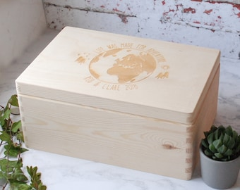 Travel Keepsake Box - Memory Box - Keepsakes - Couples Gift - Travellers Gift - Storage Box - Wooden Box - Box with Lid - Globe -Personalise