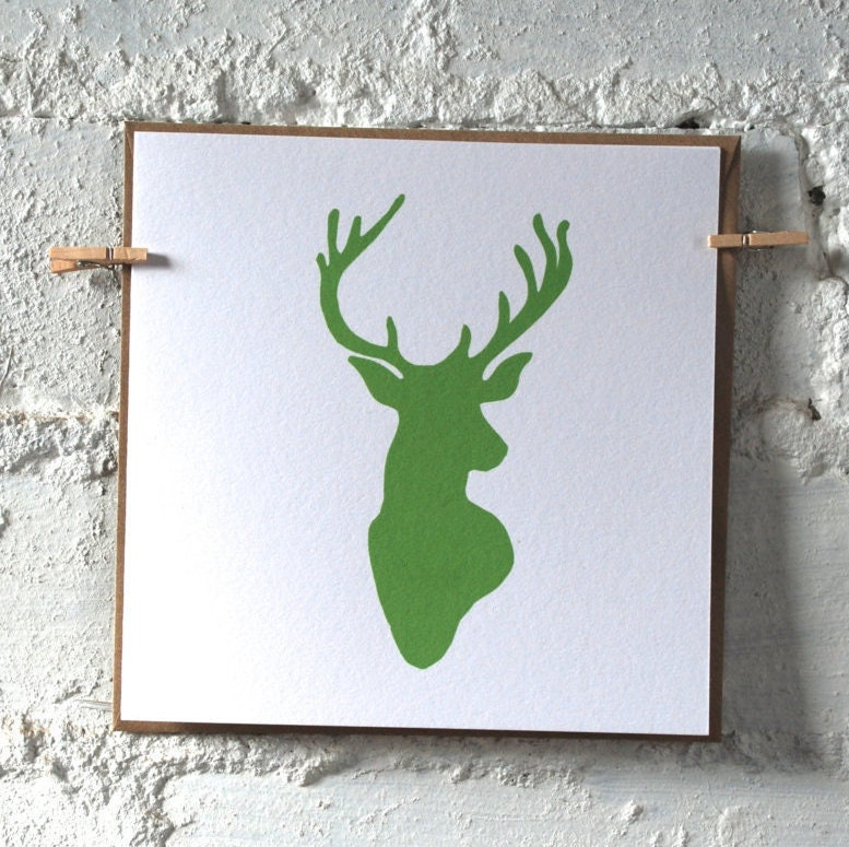 pack of stags head cards christmas cards festive cards greeting cards note card set notecards stag head print blank card