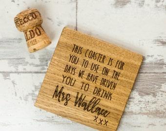 Teachers Wine Coaster - Gifts For Teachers - Teacher Gift - Gifts For Her - Personalised Coaster - Wooden Coaster - Engraved Coaster - Oak