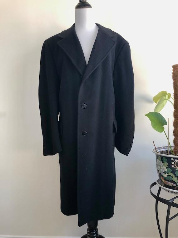Vintage Black Wool Coat, Women's XL