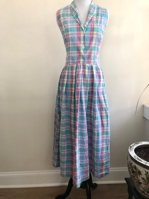 Vintage 80s Plaid Pastel Tank Dress, Women's Size