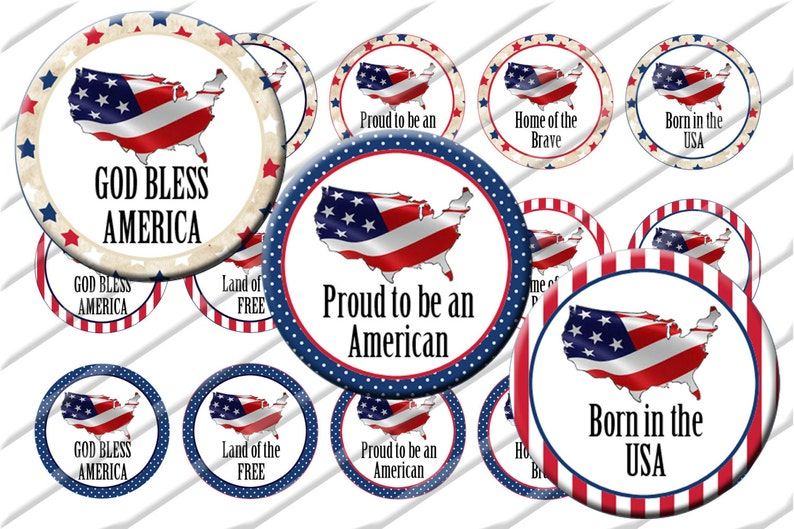 picture about Bottle Cap Images Free Printable known as Patriotic 4th of July Bottle Cap Shots, 1 inch circle picture sheet, Electronic Collage Sheet, Fast Obtain Printable, Cupcake Toppers