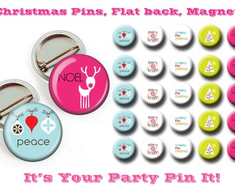 Modern Christmas Flair button, Flat Back,Pin back, Hallow Back, 1 inch Hair Bow Embellishments, Badge Reels, DIY,  Magnets