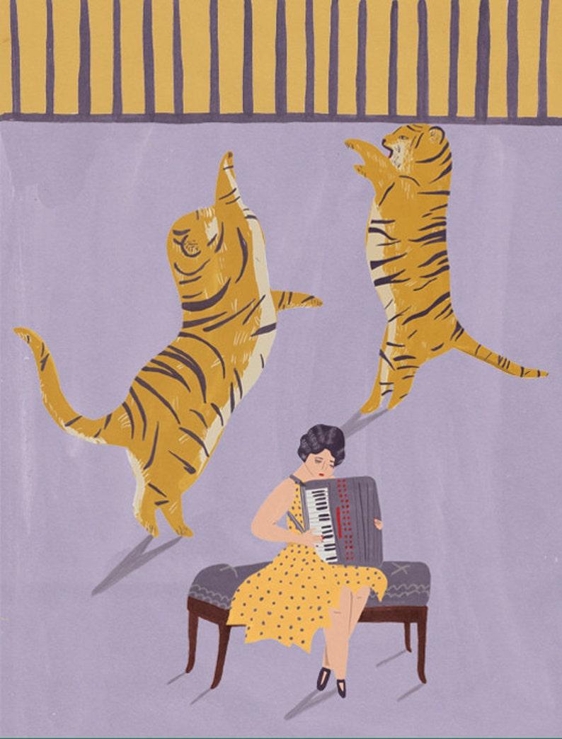 Tigers and accordionist circus giclee print image 0