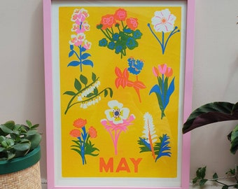 May flowers A3 riso print