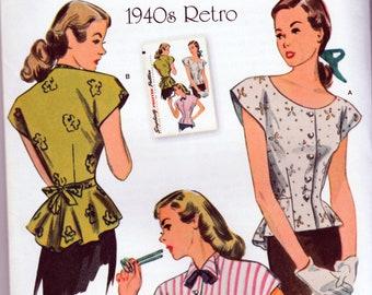 Retro  1940's Blouse Reprint - Simplicity 1590 - Uncut Pattern