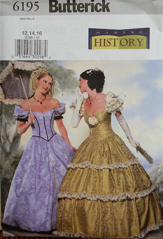 Southern Belle Costume Making History Butterick Pattern 6195 | Etsy