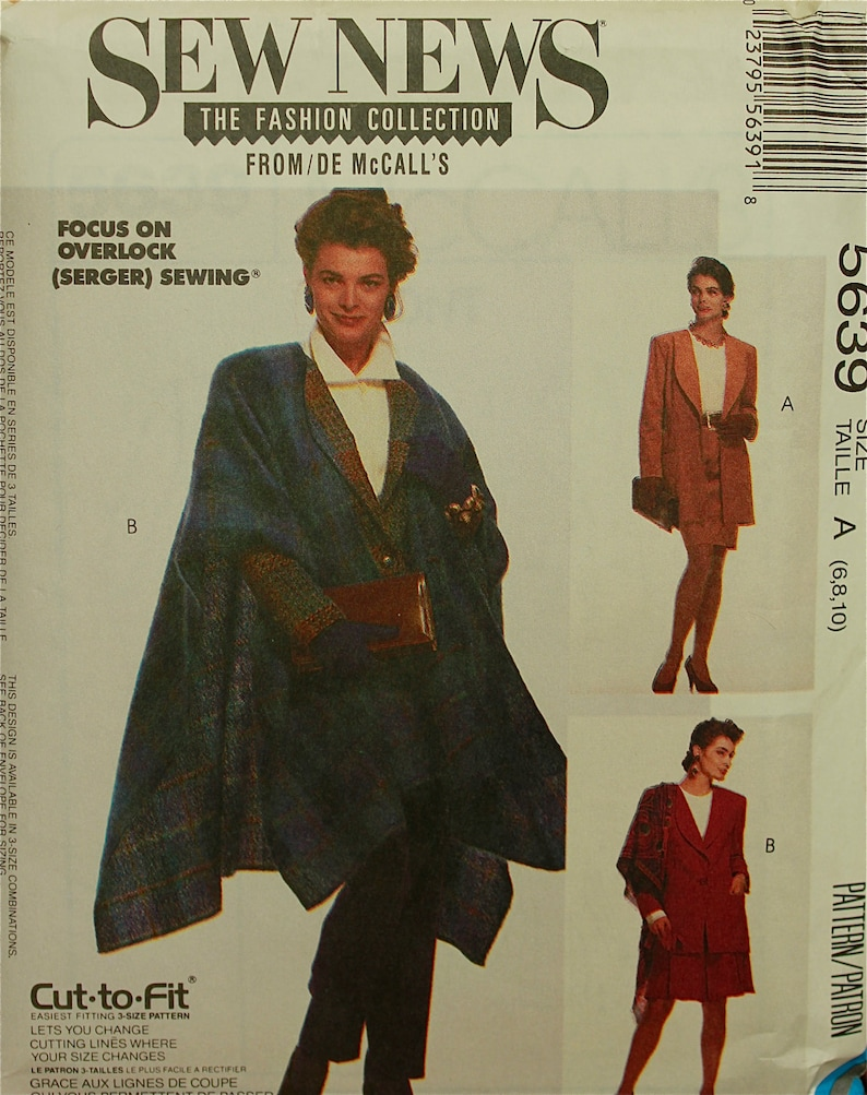 1990s Jacket & Cape Sew News Fashion Collection McCall's Pattern 5639 Uncut  Size 6-8-10 Bust 30 5 to 32 5