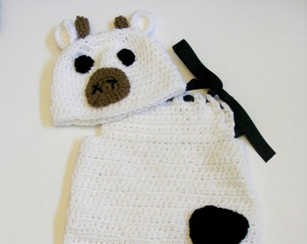 White Crocheted Cow Dress Costume for Babies and Toddlers