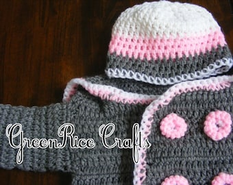 Grey Crocheted Pea Coat with Pink and White Matching Hat