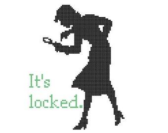 "PDF PATTERN Nancy Drew ""It's locked"" cross stitch"