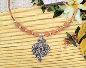 Portuguese Heart Necklace, Portuguese Filigree, Cork Bead Necklace, Portuguese Jewelry, Portugal, Cork