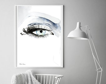 Eye painting print by Helen Simms, abstract, minimalist, simple watercolour