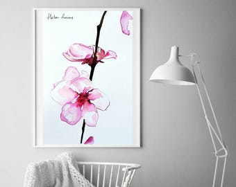 Watercolour orchid painting by Helen Simms, flower print