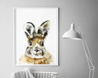 Rabbit watercolour painting print by Helen Simms, ideal for nursery, woodland animal art