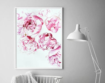 Watercolour Peonies print, minimalist, abstract, floral