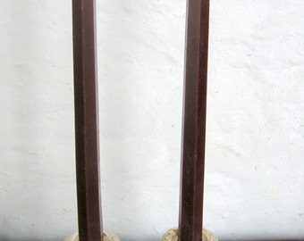 Pair Beeswax Hexagonal Plum Taper Candles Hand Crafted By The Beekeeper