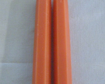 Pair Beeswax Hexagonal Peach Colored Taper Candles Hand Crafted By The Beekeeper