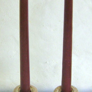 Pair Beeswax 12 Cranberry Taper Candles Hand Crafted By The Beekeeper