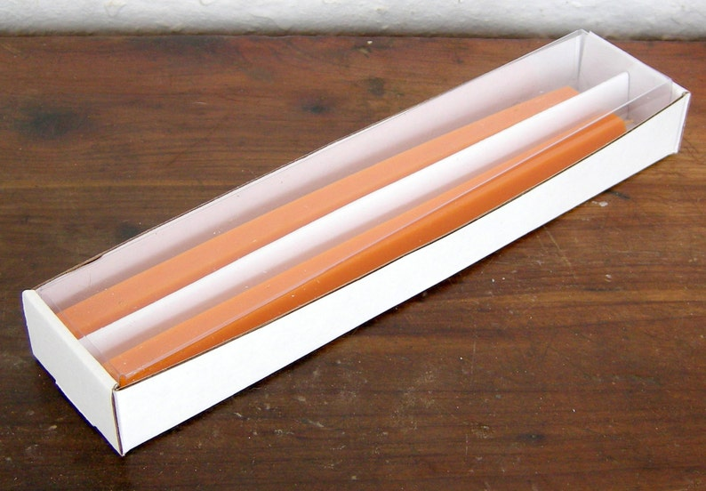 Pair Beeswax Hexagonal Orange Halloween Taper Candles Hand Crafted By The Beekeeper